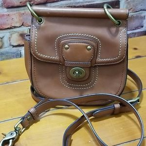 Coach small crossbody brown leather